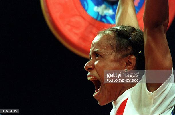 Sydney Olympics: women weightlifting in Sydney, Australia on September 16, 2000 - Rumbewas Raema Lisa .