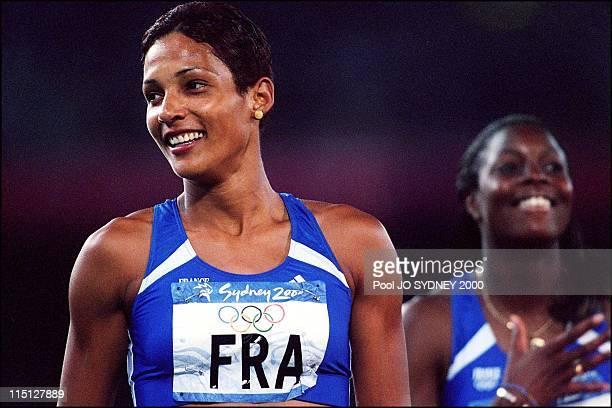Sydney Olympics women's 4x100 meters relay final in Sydney Australia on September 30 2000 Christine Arron