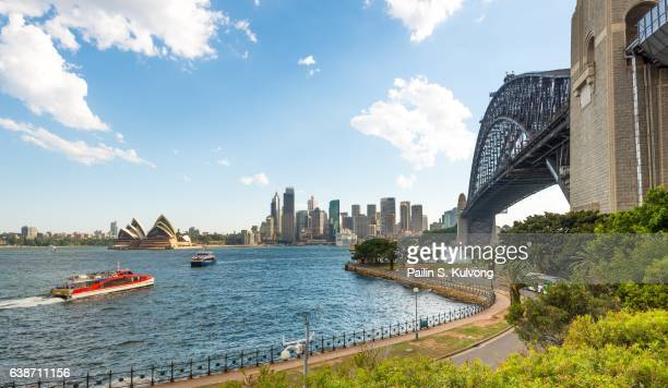 Sydney Opera House and Harbour Bridge, New South Wales, Australia at Milsons Point