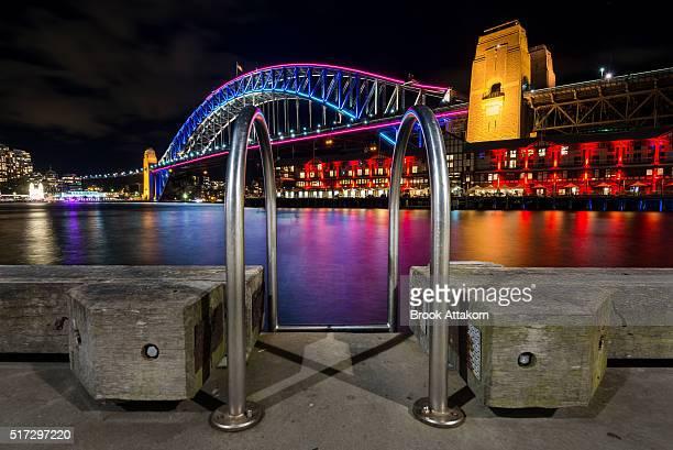 Sydney Opera House and Harbour Bridge shown during Vivid Sydney.