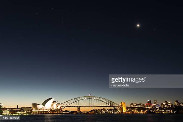 Sydney Opera House and Sydney Harbor Bridge at Dusk