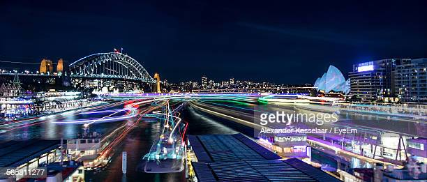 Sydney Opera House And Sydney Harbor Bridge At Night