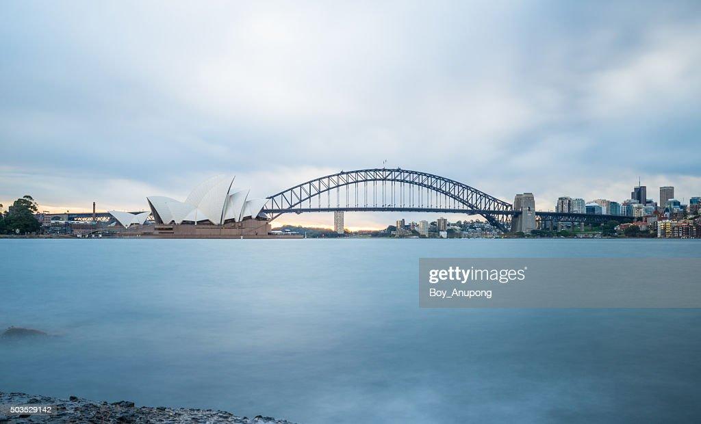 Sydney opera house and the Harbour bridge. : Stock Photo