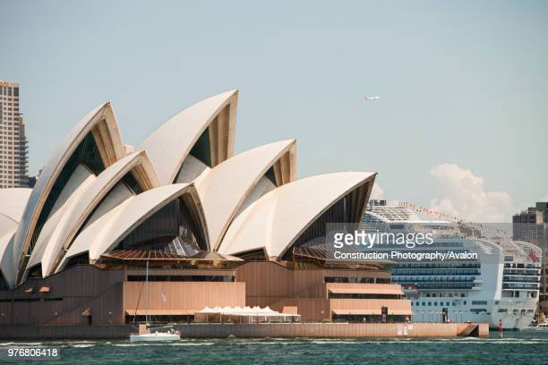 Sydney Opera House Australia with a large cruise liner docked in Sydney Harbour