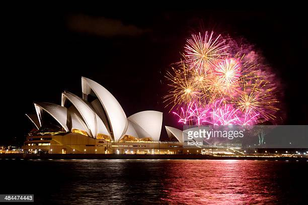 sydney opera house fireworks - sydney stock pictures, royalty-free photos & images
