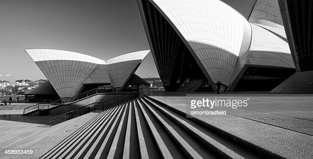 sydney opera house in black & white - international landmark stock pictures, royalty-free photos & images