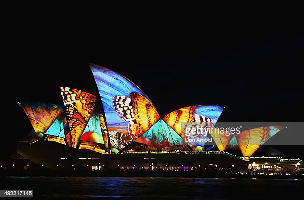 Sydney Opera House lights up as part of VIVID Live at Sydney Opera House on May 23 2014 in Sydney Australia VIVID Sydney is an annual event...