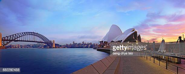 sydney opera house panorama - sydney stock-fotos und bilder