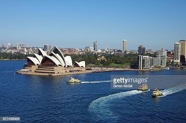 Sydney Opera House Sydney Harbour and three Sydney Ferries New South Wales Australia