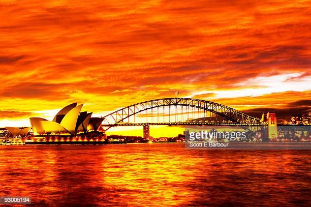 Sydney Opera House, Sydney Harbour Bridge , sunset