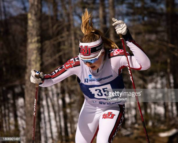 Sydney Palmer-Leger of the University of Utah during the women's 15km freestyle at the NCAA Skiing Championships on March 13, 2021 in Jackson, New...