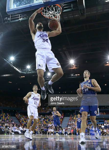 Sydney player Perry Ellis dunks the ball during the round 19 NBL match between the Brisbane Bullets and the Sydney Kings at Brisbane Entertainment...