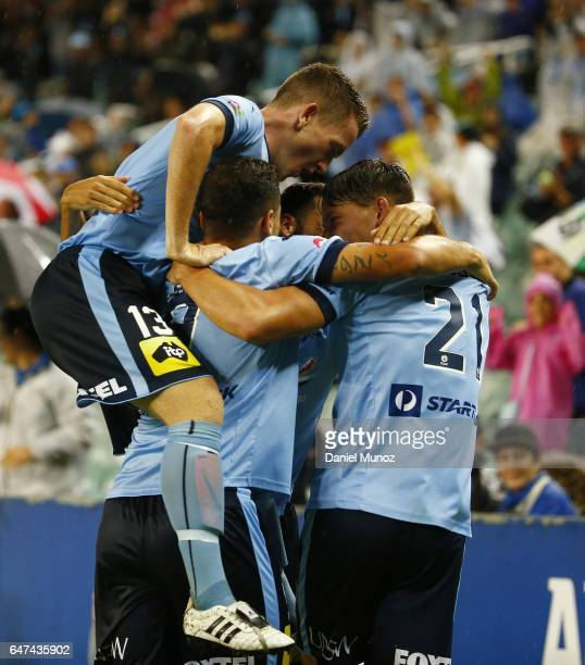 Sydney players celebrate their goal during the round 22 ALeague match between Sydney FC and Melbourne Victory at Allianz Stadium on March 3 2017 in...