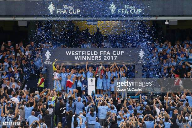 Sydney players celebrate victory during the presentation ceremony after the FFA Cup Final match between Sydney FC and Adelaide United at Allianz...