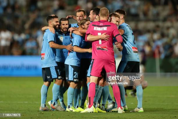 Sydney players celebrate victory during the round 12 ALeague match between Sydney FC and Melbourne City at Netstrata Jubilee Stadium on December 29...