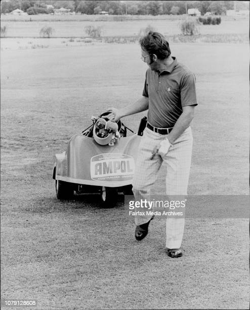 Sydney Professional golfer Billy Dunk tries out the Electro Caddy buggy which is controlled by an electronic unit carried on the beltThe Electro...