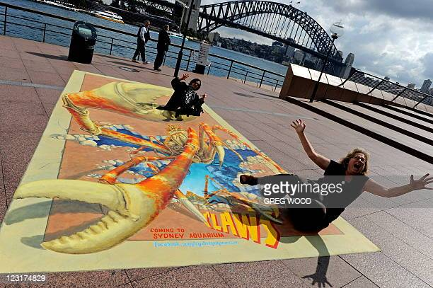 Sydney residents Margot Gordon and Wendy Martin pose on an enormous interactive 3D chalk artwork of the Japanese Spider Crabthe largest crab in the...