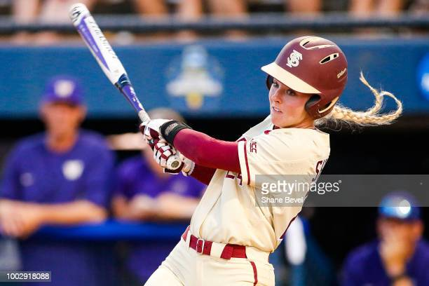 Sydney Sherrill of Florida State swings at a pitch during game two of the Division I Women's Softball Championship held at USA Softball Hall of Fame...