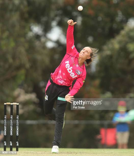 Sydney Sixers Ashleigh Gardner bowls during the Women's Big Bash League match between the Melbourne Stars and the Sydney Sixers at Casey Fields on...