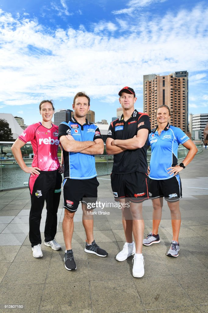 Sydney Sixers captain Ellyse Perry,Adelaide Strikers BBL captian Colin Ingram, BBL Melbourne Renegades captain Cameron White and WBBL Adelaide Strikers captain Suzie Bates pose on the Adelaide Footbridge during the Big Bash League Semi Final media opportunity at Adelaide Oval on February 1, 2018 in Adelaide, Australia.