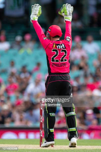 Sydney Sixers player Josh Philippe appeals for a wicket at the Big Bash League cricket match between Sydney Sixers and Perth Scorchers at The Sydney...