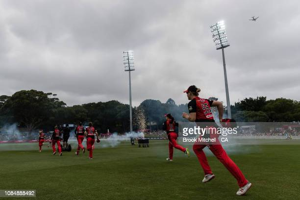 Sydney Sixers player run on to the field for the match with the Melbourne Renegades during the Women's Big Bash League Semi Finals on January 19 2019...