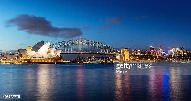sydney skyline at night - famous place stock pictures, royalty-free photos & images
