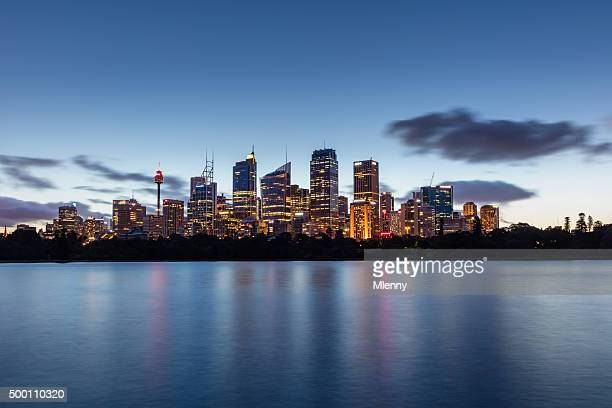 sydney skyline at night twilight australia - sydney stock pictures, royalty-free photos & images