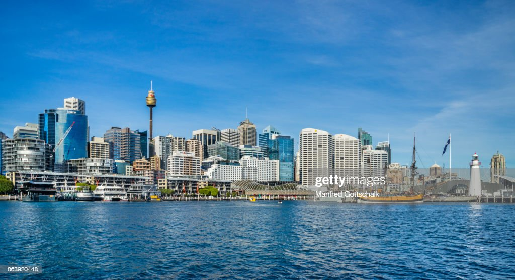 Sydney skyline from Darling Harbour : Stock Photo