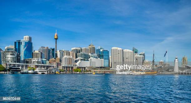 sydney skyline from darling harbour - darling harbour stock pictures, royalty-free photos & images