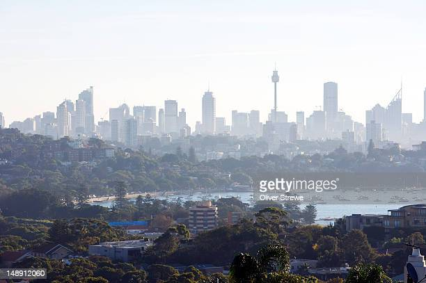 sydney skyline, rose bay and point piper from dudley page reserve. - piper stock photos and pictures