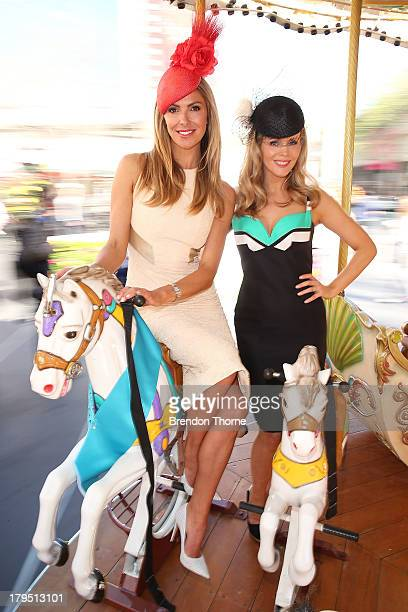Sydney Spring Carnival ambassadors Laura Csortan and Sophie Faulkner pose at the Australian Turf Club Spring Launch at Customs House forecourt on...