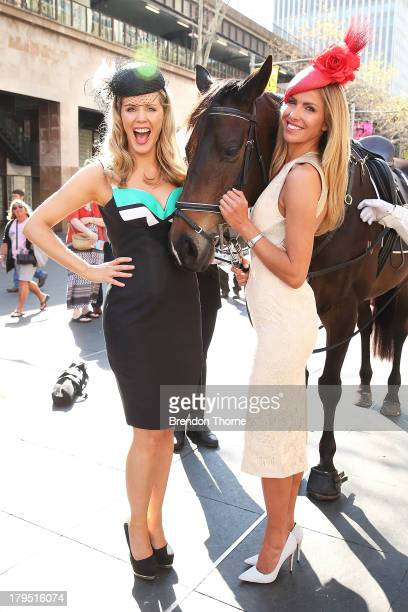 Sydney Spring Carnival ambassadors Sophie Faulkner and Laura Csortan pose at the Australian Turf Club Spring Launch at Customs House forecourt on...