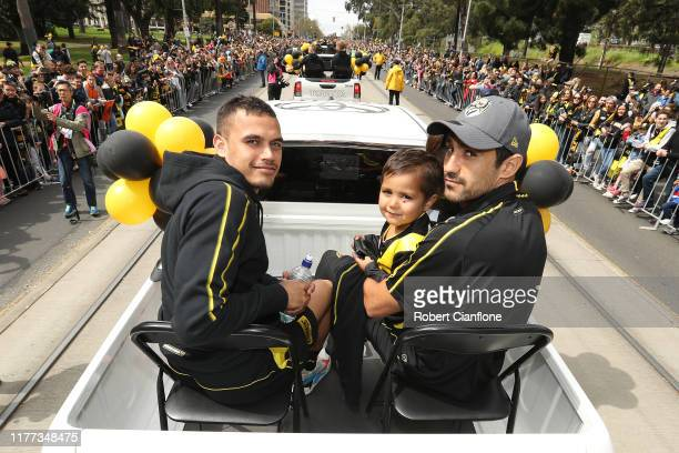 Sydney Stack and Marlion Pickett of the Tigers attend during the 2019 AFL Grand Final Parade on September 27 2019 in Melbourne Australia