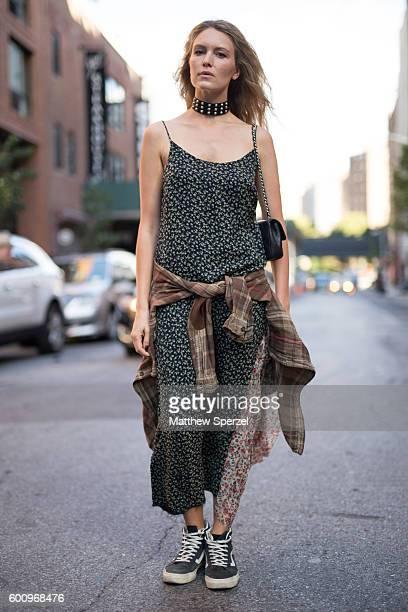 Sydney Stutterheim is seen wearing R13 attending R13 during New York Fashion Week S/S 2017 on September 7 2016 in New York City