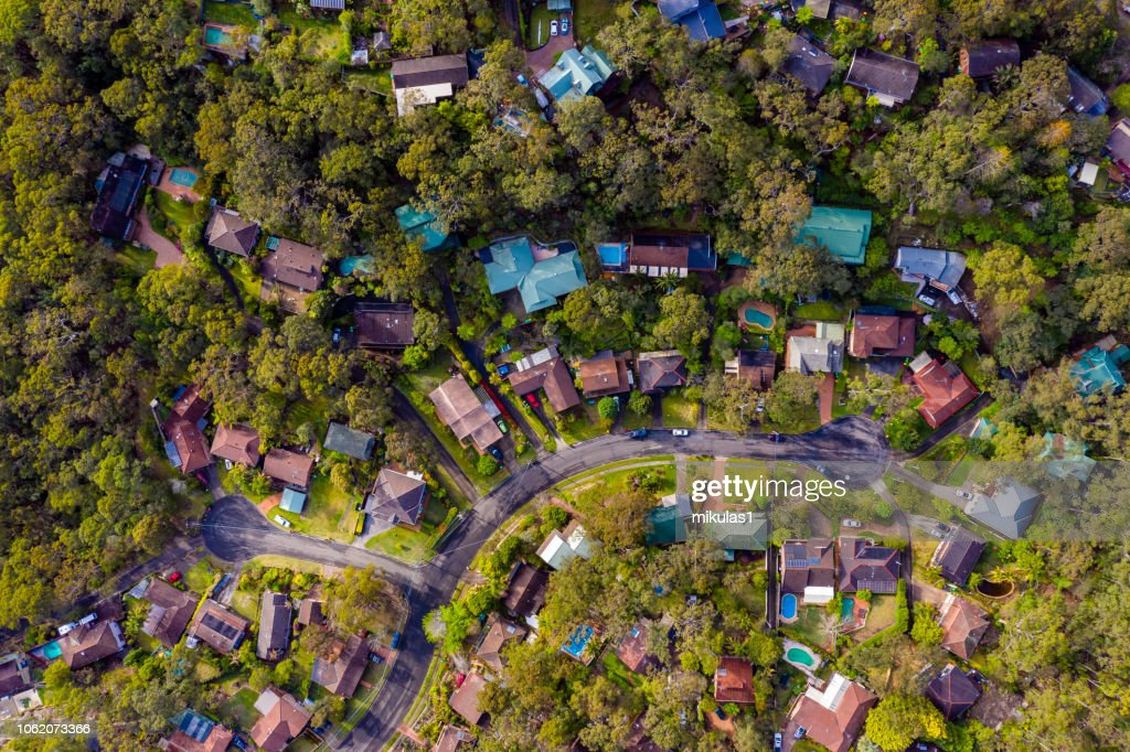 Sydney Suburb overhead perspective roof tops : Stock Photo