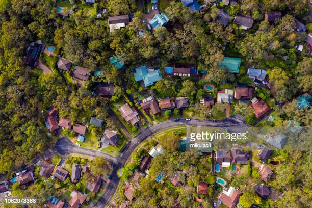 sydney suburb overhead perspective roof tops - aerial view stock pictures, royalty-free photos & images