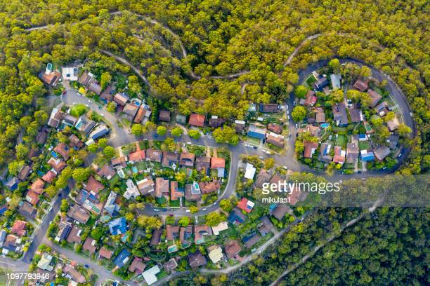 sydney suburb overhead perspective roof tops - housing development stock pictures, royalty-free photos & images