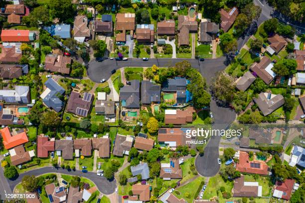 sydney suburb overhead perspective roof tops - suburban stock pictures, royalty-free photos & images