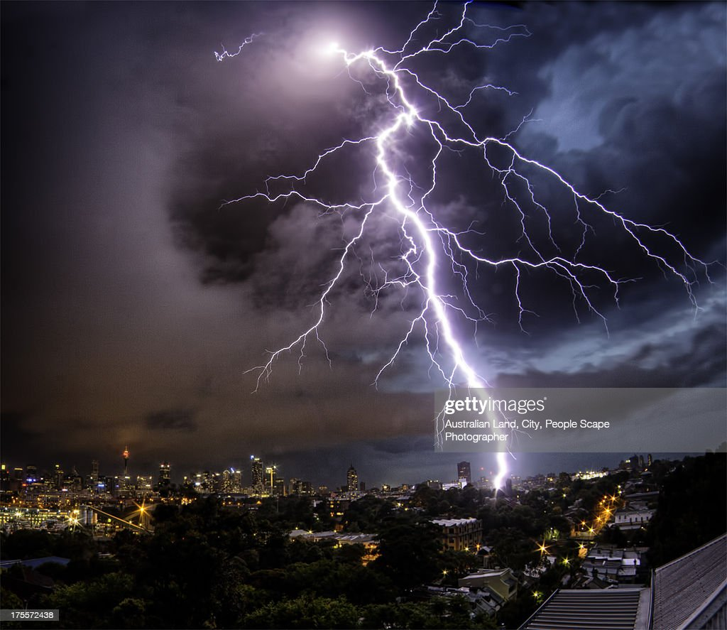 Sydney Summer Lightning Strike : Stock Photo