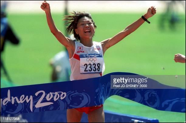 Sydney Summer Olympics women's marathon in Sydney Australia on September 24 2000 Takahashi Naoko gold medal Simon Lidia silver medal Chepchumba Joyce...