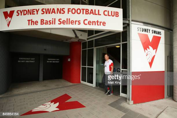 Sydney Swans AFL coach John Longmire arrives to speak to the media during a press conference at Sydney Cricket Ground on September 12 2017 in Sydney...