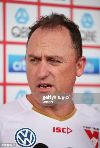 Sydney Swans AFL coach John Longmire speaks to the media during a press conference at Sydney Cricket Ground on September 12 2017 in Sydney Australia