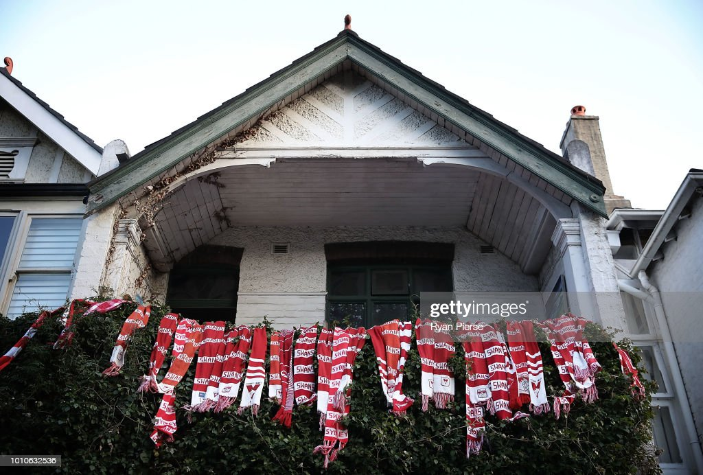 Sydney Swans scarves are seen outside a house in Moore Park before the round 20 AFL match between the Sydney Swans and the Collingwood Magpies at Sydney Cricket Ground on August 4, 2018 in Sydney, Australia.
