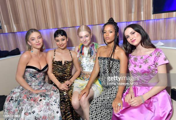 Sydney Sweeney Alexa Demie Hunter Schafer Taylor Russell and Maude Apatow attend the 2020 Vanity Fair Oscar Party hosted by Radhika Jones at Wallis...