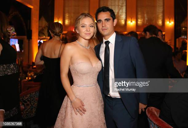 Sydney Sweeney and Max Minghella attend Hulu's 2018 Emmy Party at Nomad Hotel Los Angeles on September 17 2018 in Los Angeles California