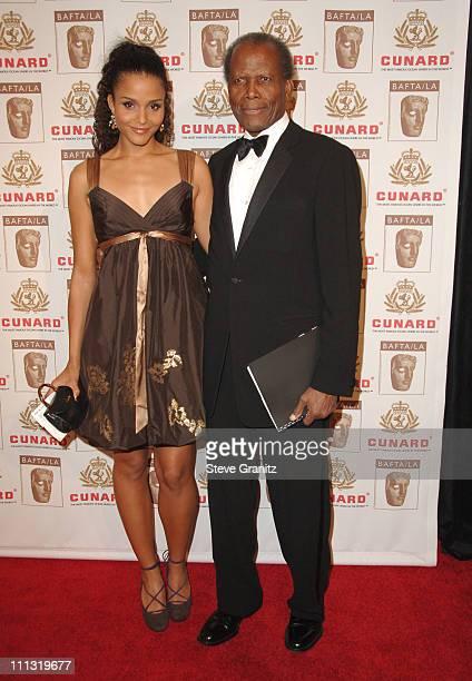 Sydney Tamiia Poitier and Sidney Poitier during The 2006 BAFTA/LA Cunard Britannia Awards - Arrivals at Hyatt Regency Century Plaza Hotel in Los...
