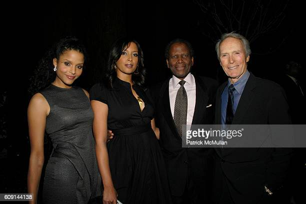 Sydney Tamiia Poitier Anika Poitier Sidney Poitier and Clint Eastwood attend GIORGIO ARMANI Prive in Los Angeles at Private Residence on February 24...