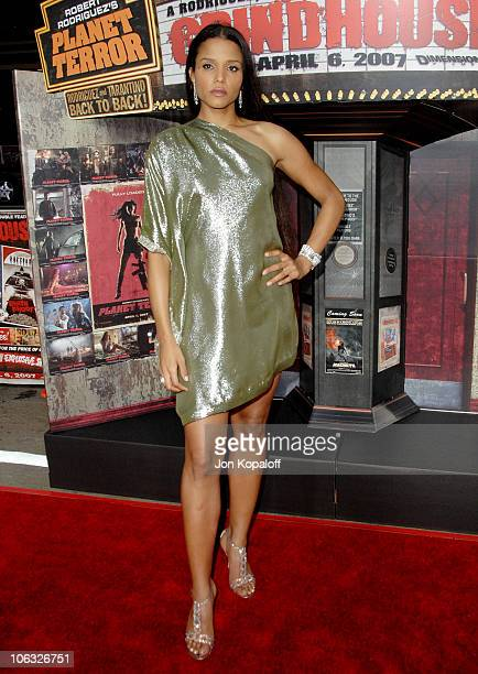 "Sydney Tamiia Poitier during ""Grindhouse"" Los Angeles Premiere - Arrivals at Orpheum Theatre in Los Angeles, California, United States."