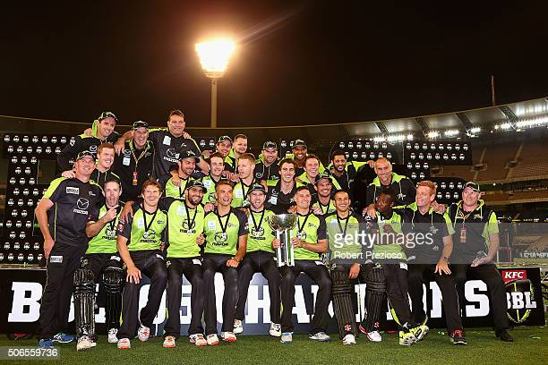 Sydney Thunder celebrate after a win during the Big Bash League final match between Melbourne Stars and the Sydney Thunder at Melbourne Cricket...